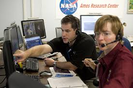NASA researchers Anthony Colaprete and Karen Gundy-Burlet working at the Ames Research Center in Silicon Valley
