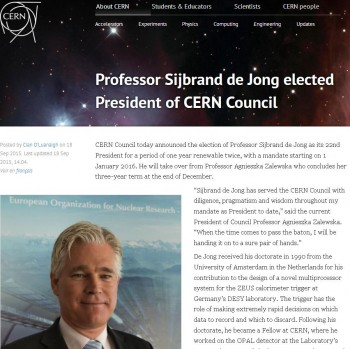 cern new president Sijbrand de Jong