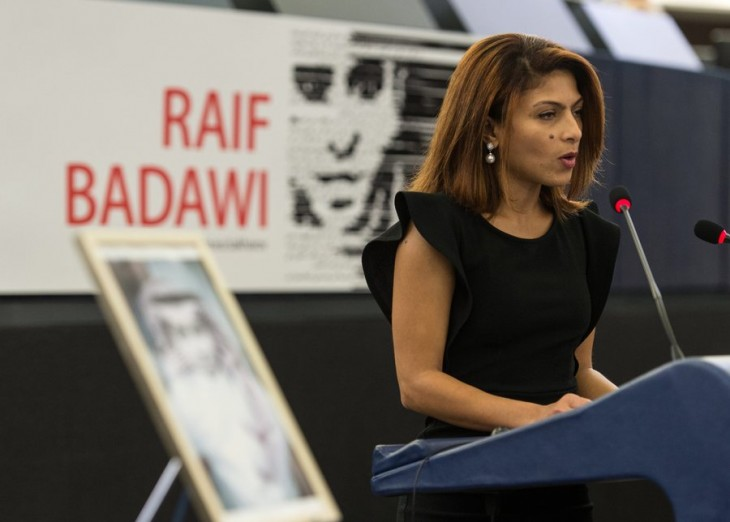 epa05070924 Ensaf Haidar, wife of jailed Saudi blogger Raif Badawi, speaks in the European Parliament in Strasbourg, France, 16 December 2015. Raif Badawi, who is serving a prison term in Saudi Arabia for allegedly insulting Islam, was awarded the European Parliament's Sakharov Prize for Freedom of Thought on 16 December, due to exceptional courage which had earned him 'one of his country's most gruesome punishments,' parliament President Martin Schulz has said.  EPA/PATRICK SEEGER