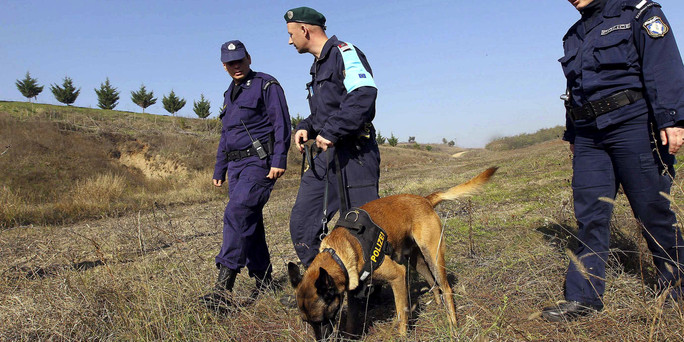 Greek border policemen, a patrol dog and an officer of Frontex border agency patrol across border line with Turkey near Orestiada town,in northern Greece, in this November 11, 2010 file photo. Greece plans a 12.5 km fence at its border with Turkey to prevent a wave of immigrants from flowing into the country, its public order minister said on Monday. REUTERS/Vassilis Ververidis/Motion Team/Files (GREECE - Tags: POLITICS CRIME LAW ANIMALS)