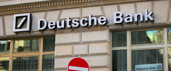Deutsche Bank AG signage sits on the facade of a branch above a no entry sign, in Hamburg, Germany, on Saturday, Feb. 13, 2016. Deutsche Bank plans to buy back about $5.4 billion of bonds in euros and dollars as it seeks to allay investor concerns about its finances. Photographer: Krisztian Bocsi/Bloomberg via Getty Images
