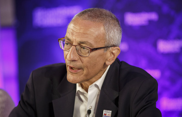 John Podesta, campaign chairman of the 2016 Presumptive Democratic Nominee Hillary Clinton, speaks during a Bloomberg Politics interview on the sidelines of the Democratic National Convention (DNC) in Philadelphia, Pennsylvania, U.S., on Tuesday, July 26, 2016. Podesta discussed the Trump campaign and immigration reform at a Bloomberg Politics breakfast today. Photographer: Patrick T. Fallon/Bloomberg via Getty Images