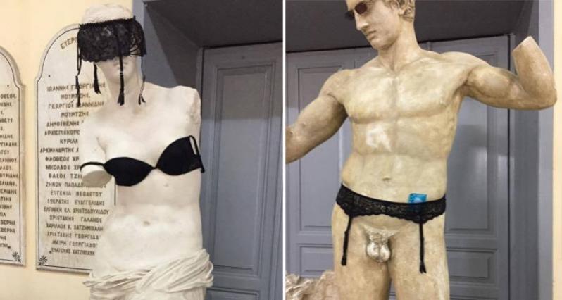 Παγκύπριο Γυμνάσιο: Έντυσαν αρχαία αγάλματα με σουτιέν, ζαρτιέρες και προφυλακτικά